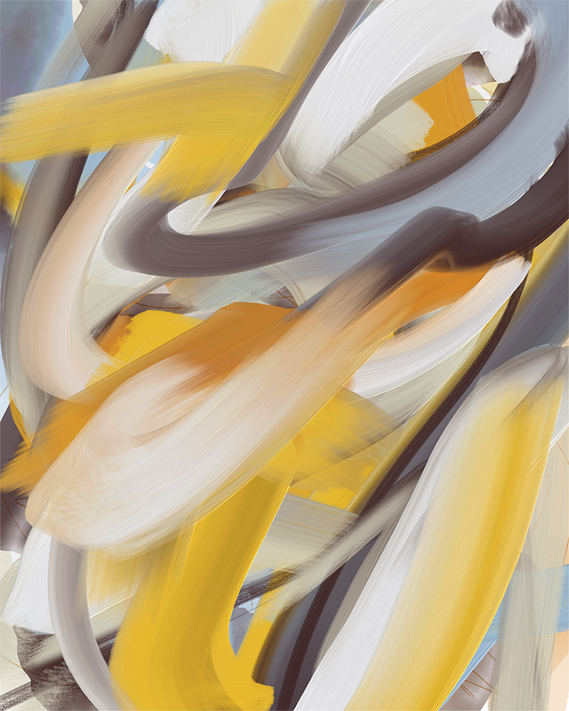 """""""26 June,"""" nonobjective digital painting from the cinquantadue series made using Adobe Fresco."""